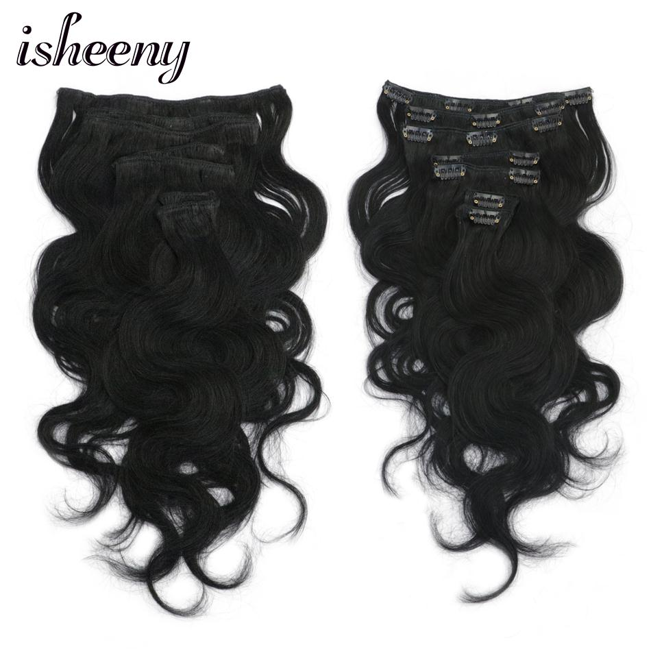 Isheeny Hair-Extensions Human-Hair Clip-In Body-Wave Remy-Dark Black 14--16-18-Full-Head