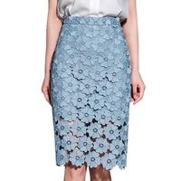New Spring Summer Elegant Women Lace Skirt High Waist Hollow Out Woman Mid Skirt White Blue Pink Black Pencil Skirts Womens Slim