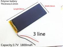 free ship 3.8V XWD 323696P 1700MAH LI- ION POLYMER battery 3 cables 1800MAH for china clone I6 goophone 6s MTK andorid phone