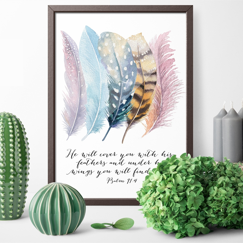 Bible-Verse-Psalm-91-4-Poster-Canvas-Art-Prints-Birds-Feathers-Scripture-Christian-Quotes-Canvas-Painting (3)