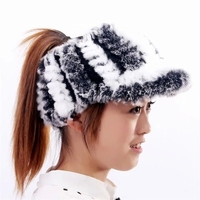Wholesale girl's winter fur hat , high quality female outdoor climbing sport visor ,warm real rex rabbit fur hat for women