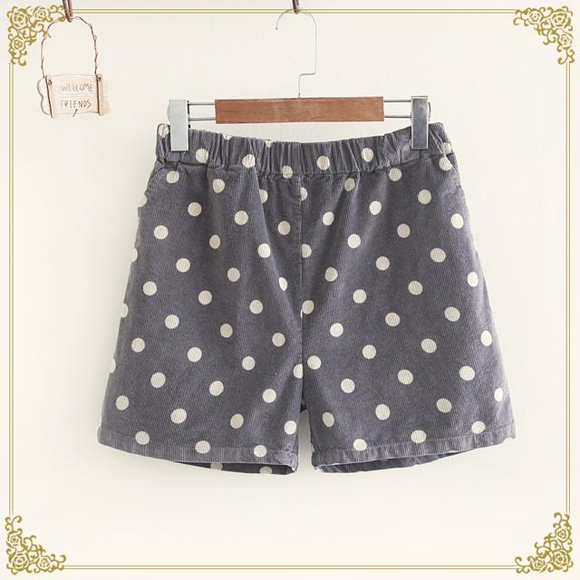 Menina doce outono nova coleção mulheres corduroy shorts frescos dot print floral elásticas bootcuts mori menina no inverno