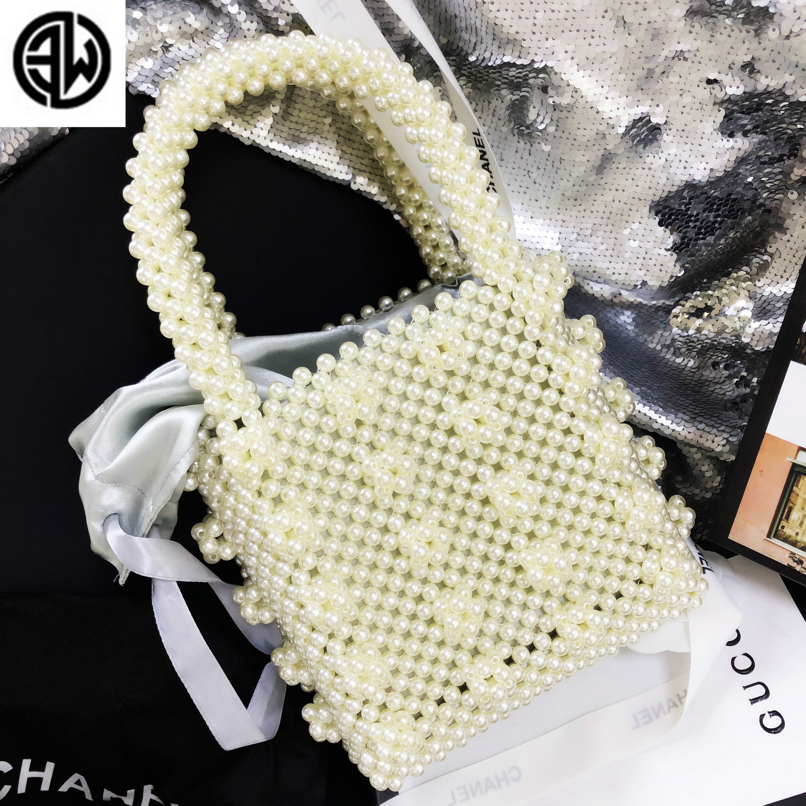 Luxury Beaded Pearl Women Crossbody Bag Hand Made Party Evening Bag Mobile Phone Woven Shoulder Messenger Bag luis vuiton gg bag pearl beaded shoulder top