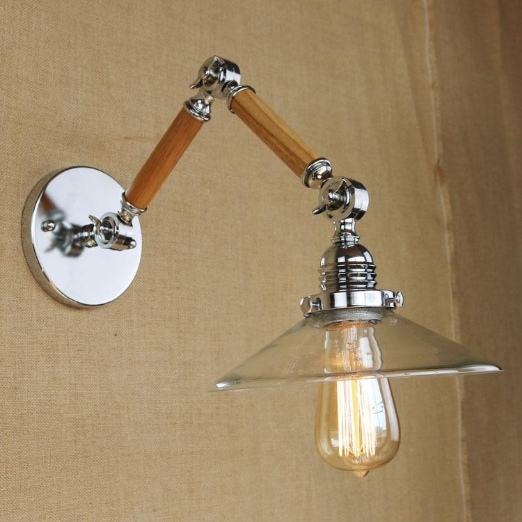 Retro Loft Industrial LED Vintage Wall Lamp Wall Sconce Adjustable 2 Handle wood Rustic Light Sconce Fixtures Glass ZBD0104 vintage loft wall lamp led industrial
