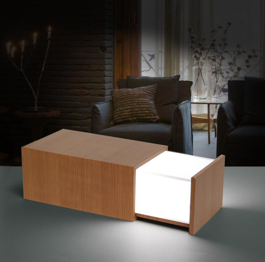 1 Piece Rechargeable Wooden Box Lamp With Bluetooth