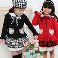 2016 Autumn Female Child Set Plaid Bow 100% Cotton Three Pieces Set Children's Clothing Child Long-sleeve Sets