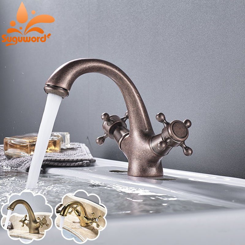 Roman Brass Gold plated Antique Faucet Bathroom Sink Faucets Dual ...