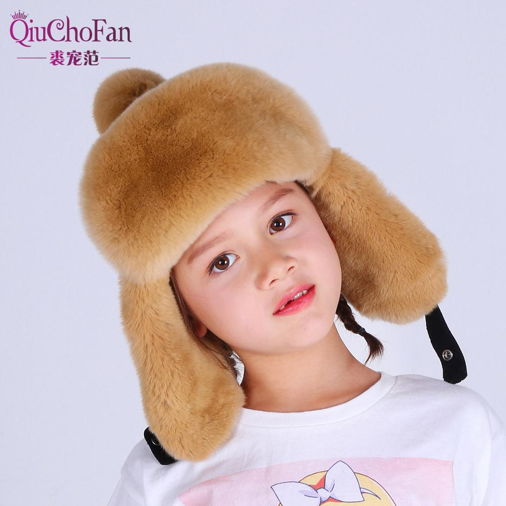 Winter Russia Fur Hat Children Hat Warm Soft Real Rex Rabbit Fur Boy Girl Earmuffs Lei Feng Cute Baby Fur Bomber Hat Cap in Hats Caps from Mother Kids