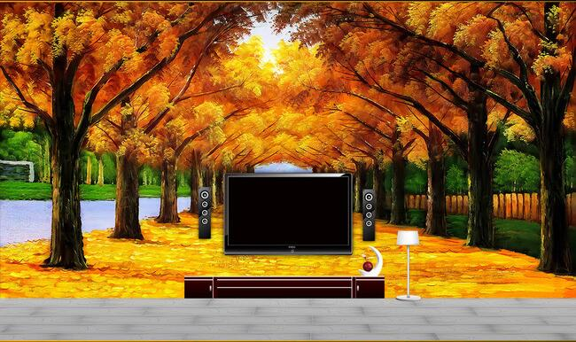 3d wallpaper custom mural non-woven wall stickers Gold tree oil painting TV setting wall forest path wallpaper for walls 3 d 3d wallpaper custom mural non woven 3d room wallpaper wall stickers abstract tree 3 d tv setting photo wall paper for walls 3d