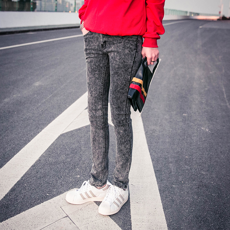 Fashion snowflake Male elastic skinny jeans men slim fit pencil pants men calca jeans masculina men's denim clothing /NZK3 men s cowboy jeans fashion blue jeans pant men plus sizes regular slim fit denim jean pants male high quality brand jeans