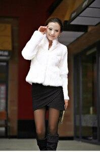 Image 2 - 2019 New Genuine Rabbit Fur Coat women full pelt rabbit fur jacket Winter Fur waistcoat customized big size Stand Collar TFP267