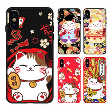 Japanese cute lucky cat kawaii phone case For coque iPhone 7 8 6 6S Plus  X XS Max XR silicone cover couple black cases