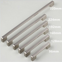 96 128 160 192 224 320mm Modern Simple Furniture Larger Handle Shiny Silver Chrome Stainless Nickel