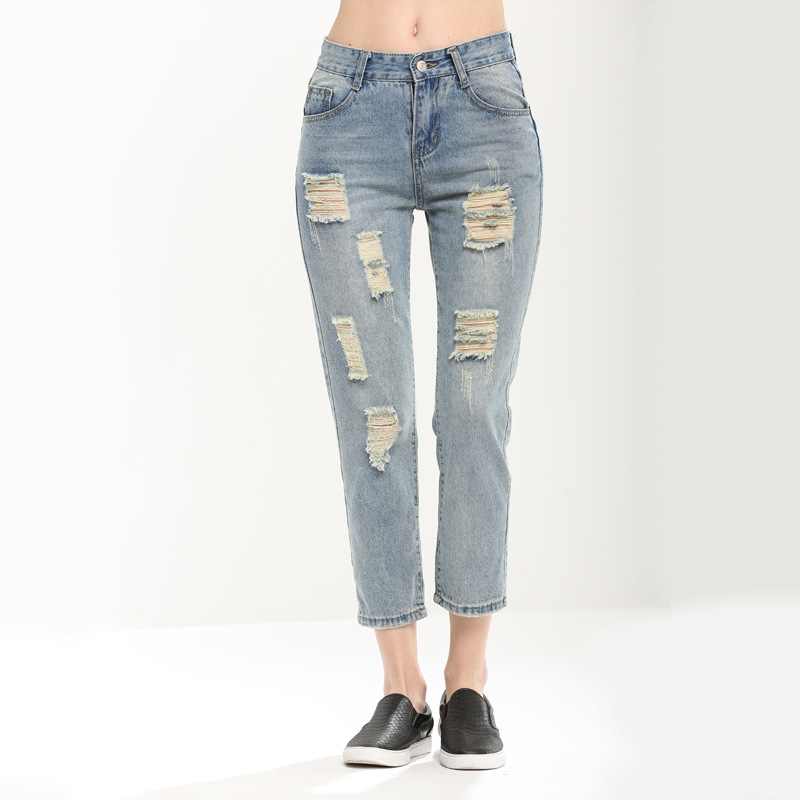 Women jeans harem jeans ankle washed jeans ripped jeans denim pant