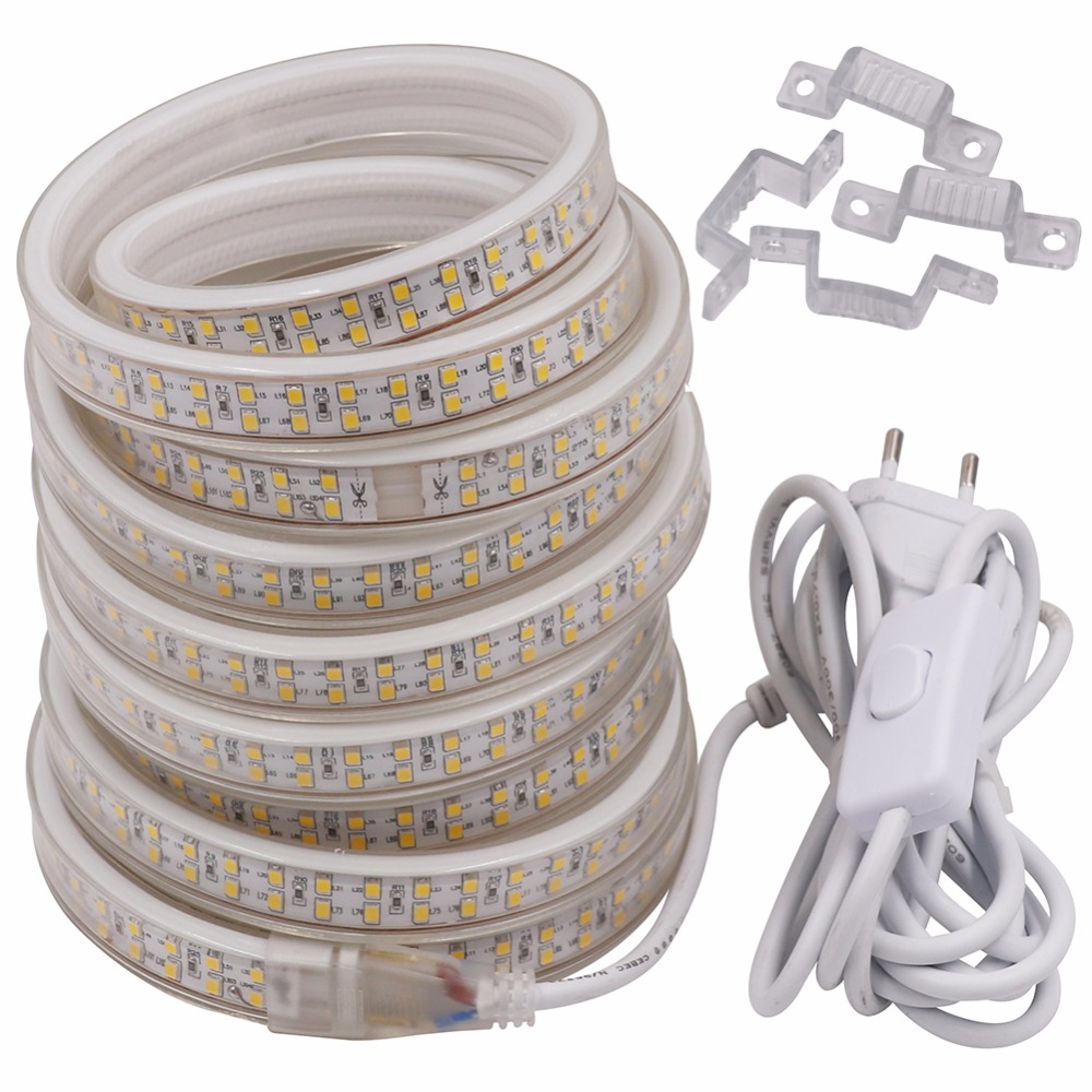 20M-1M Led Strip light SMD 2835 White/Warm White 208Led/m Waterproof Led Rope Tape AC220V EU Power Plug with 3m cable /swtich