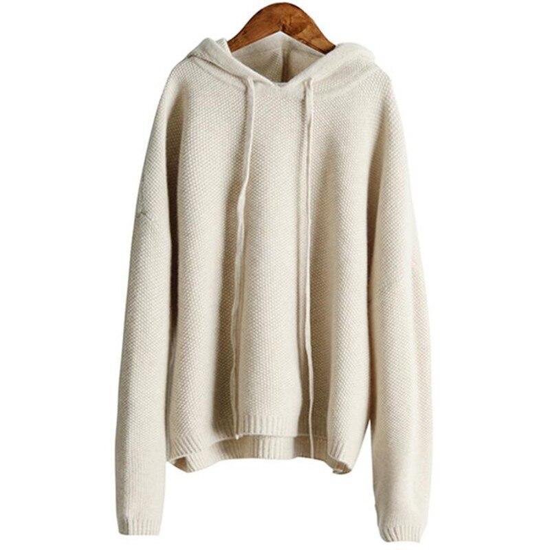 Cachemire laine tricot femmes de mode cordon à capuchon col pull chandail large lâche blanc 3 couleurs S-2XL