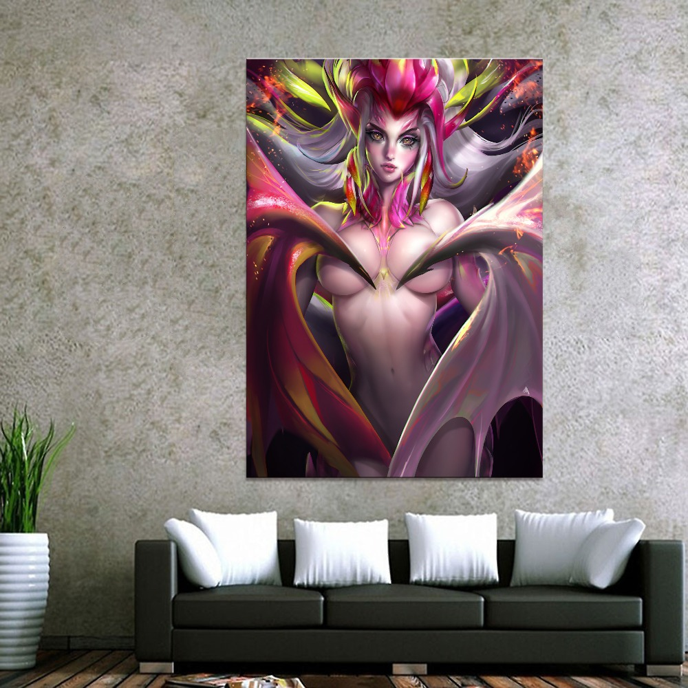 Home Decor Canvas Dragon Fruit Faerie Nude 1 Piece Anime Sexy Girl Art Poster Prints Picture Wall Decoration Painting Wholesale