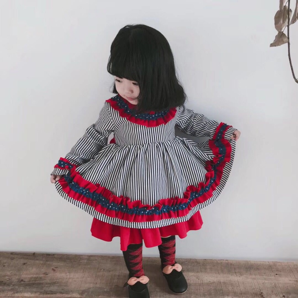 cf35775e542b4 US $25.1 19% OFF|Cute Baby Dress for Girls Spanish Princess Party Dresses  Children Dress 2019 Spring Autumn Striped Girl Robe Fille Kids Clothing-in  ...