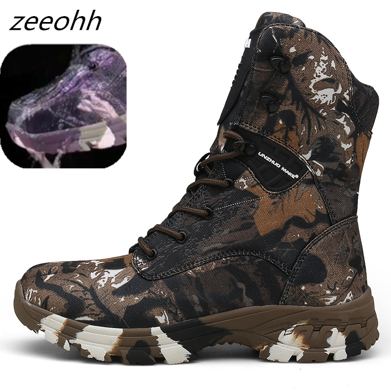 Outdoor Tactical Sport Men's Shoes For Camping Climbing Boots Men Hiking Boots Male Mountain Non-slip Camouflage Hunting Boots