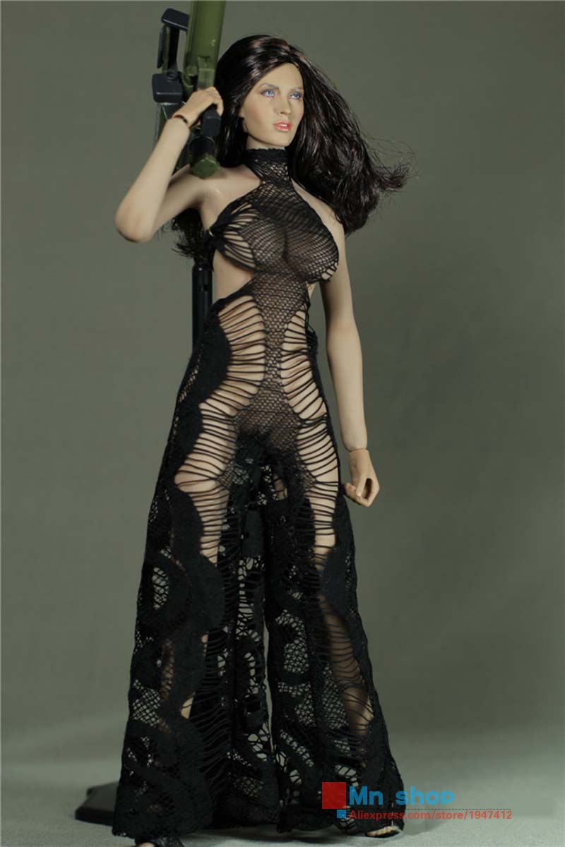 Action Figure Clothes PHICEN 1/6 Super Sexy Black Hollow out Jumpsuits For Female Large/Medium Bust Doll Action Figure Toys P45