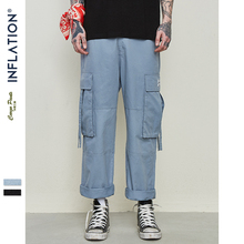 INFLATION 2019 Men Black Male Bound Feet Trousers Streetwear Hip hop Ankle Tied