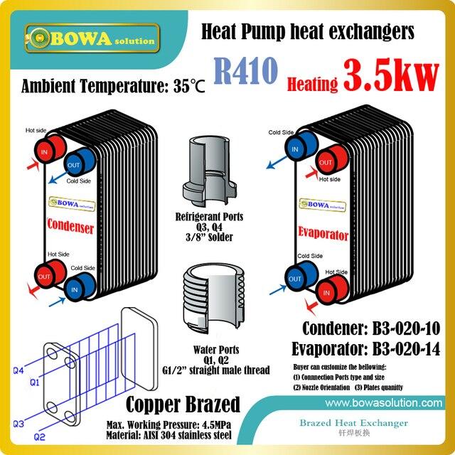12000BTU wasser/wasser wärmepumpe wasser R410 heizung wärmetauscher ...