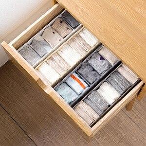 Image 4 - 5 Grids Storage Basket Wardrobe Organizer Women Men Storage Box For Socks Underwear Plastic Container Makeup Organizer hot A3072