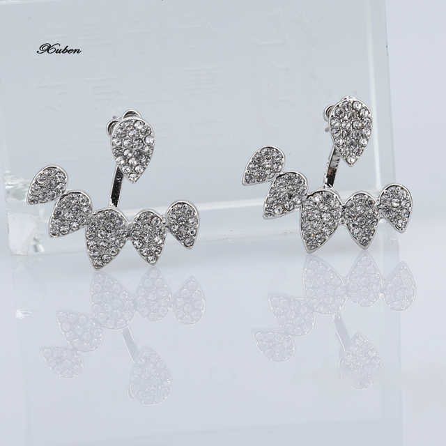 Crystal Front Back Double Sided Stud Earrings For Women Fashion Earring