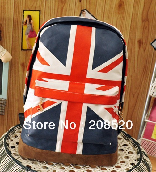 JJ289 Free shipping/UK flag backpack/American flag bag for students/girls
