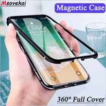 hot deal buy for iphone 8 plus xs max xr 7 plus magnetic phone case back metal magnet flip cover for iphone 7 6 6s plus case tempered glass
