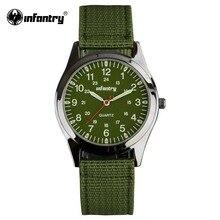 INFANTRY Montre Hommes Montres À Quartz Lumineux Militaire Vert Tissu Bracelet Sport Montres pour Hommes Relogio Masculino