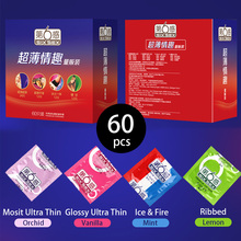 SIX SEX Glossy Ultra Thin Flavored Sexy Condoms for Men 60pcs Moist Ultra-thin Penis Sleeve Preservatif Sexual Toys