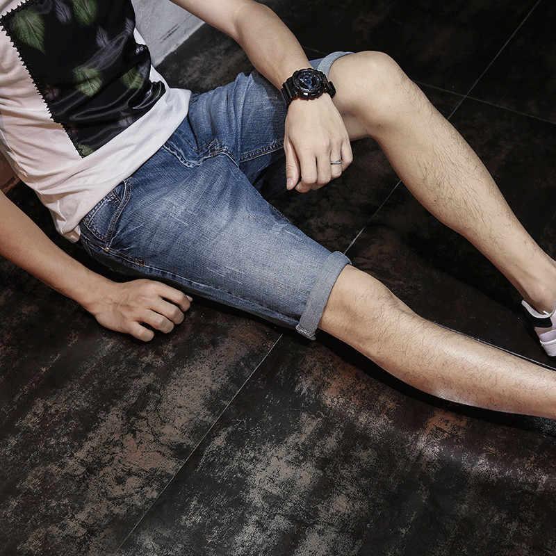 2020 صيف جديد الرجال الدنيم السراويل موضة سليم صالح الدينيم النمط الكلاسيكي جينس قصير الرجال ماركة الملابس