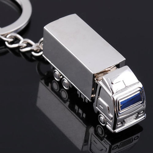Truck Shape Key Chains Silver Plated Van Car Pendant KeyChains Car Bag Zinc Alloy Keyring Rings Key Holder Birthday Gift Jewelry
