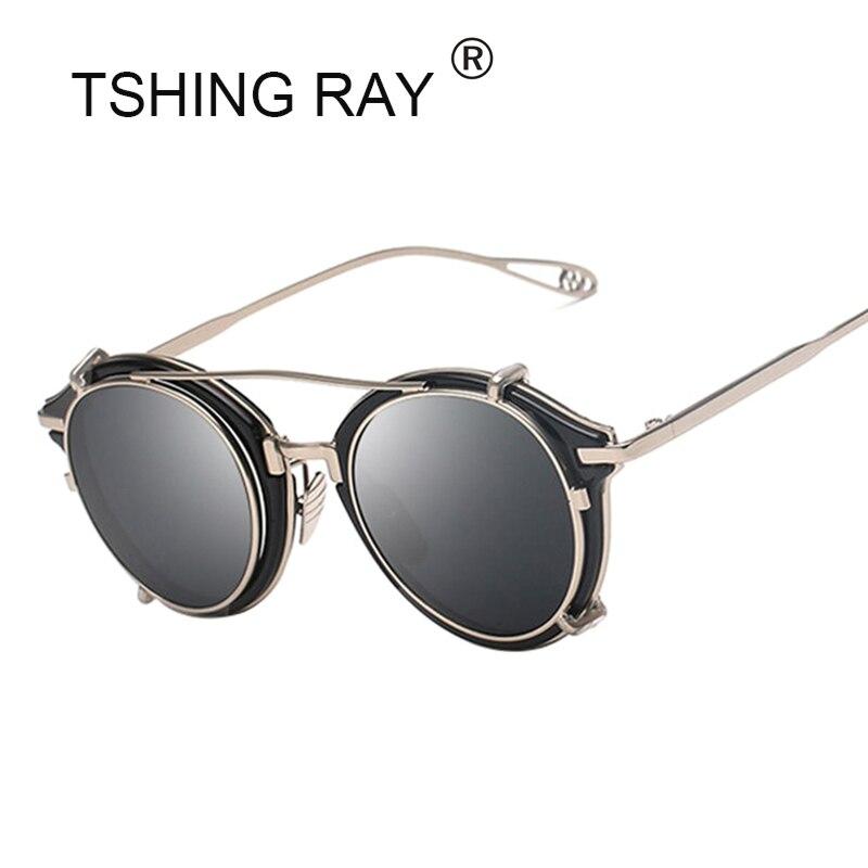 TSHING RAY New Vintage Steampunk Clip on Sunglasses Men Women Hip Hop Round Sun Glasses Retro Steam Punk UV400 Male Shades