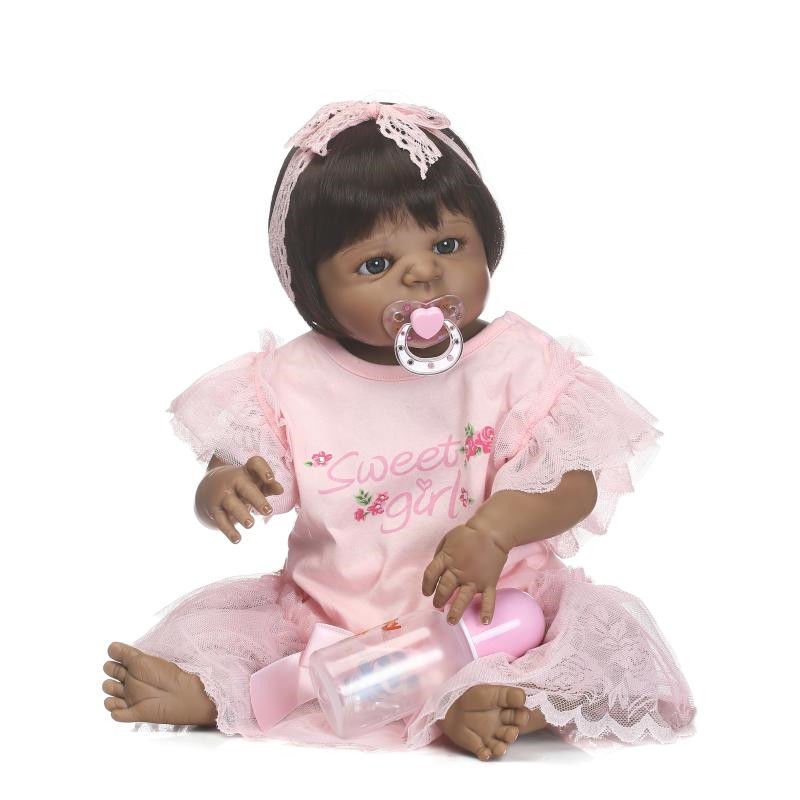 African American 55cm/22 Baby Doll Black Skin Girl Full Vinyl Silicone Body Reborn Baby Bath Education Toy Collection 7080224 kidkraft doll family of 7 african american