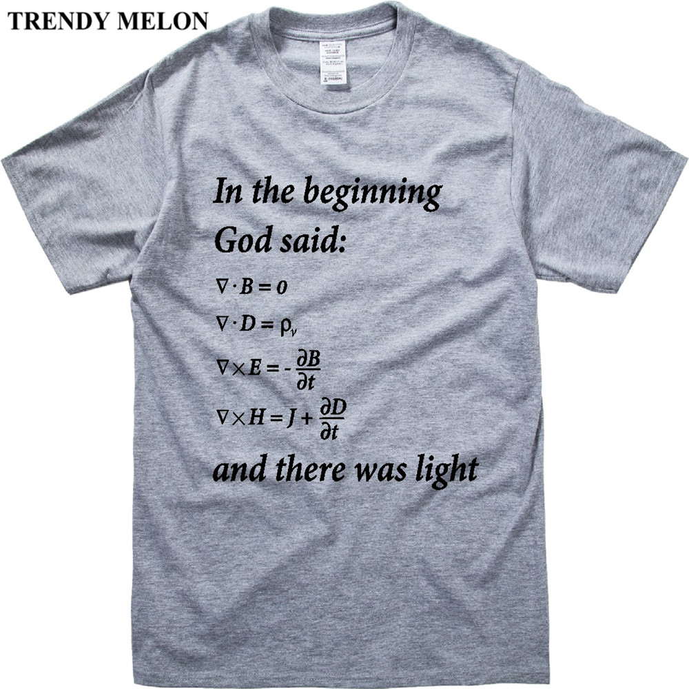 Trendy Melon Letters Print Men T shirt Funny Math Design Maxwell Equations Casual T-shirts White Gray Tops Hipster JM02