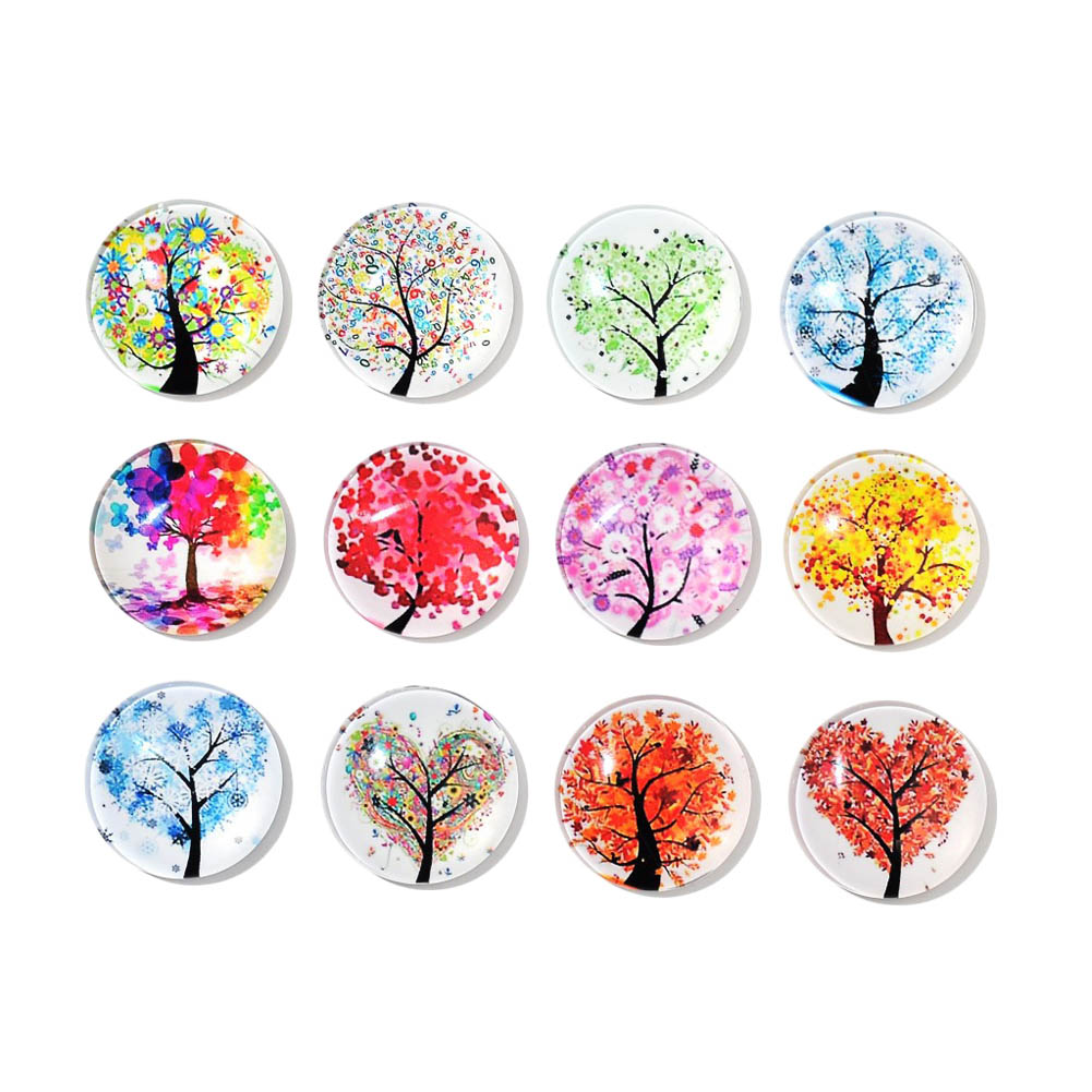 12pcs/Set Cute Round Cartoon Colorful Life Tree Refrigerator Sticker Fridge Magnet Toy Glass Cabochon Fridge Magnet
