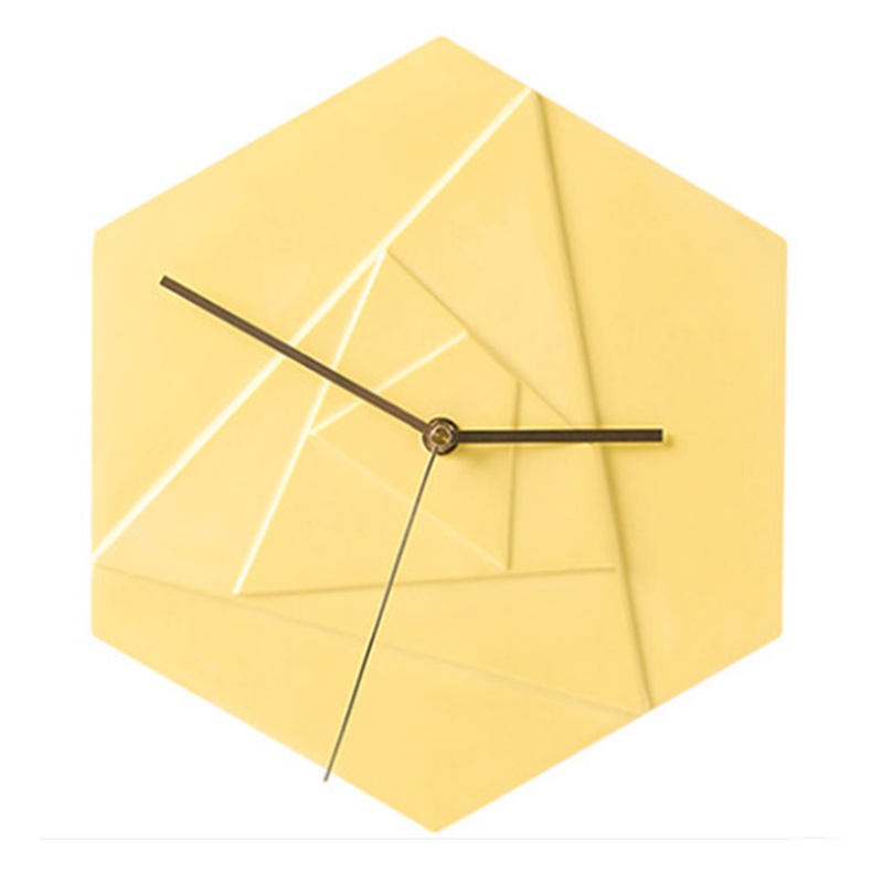 Hexagonal cement geometric pattern wall clock silicone mold living room bedroom concrete gypsum resin clock mold