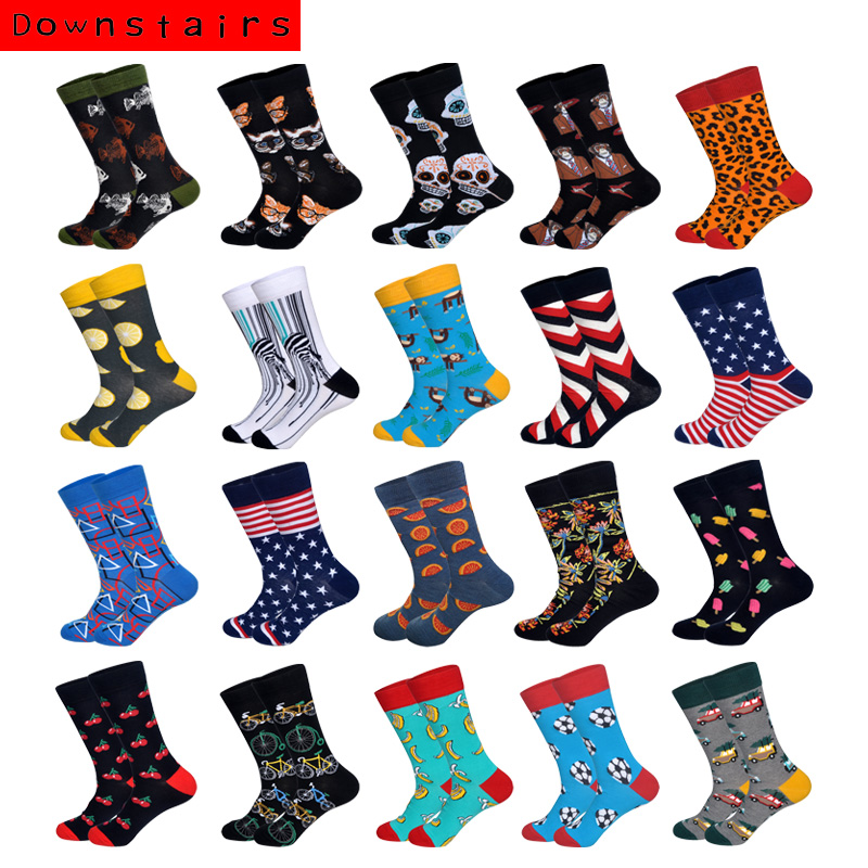 Downstairs Men Socks Individual Character Designs Fashions For Mens 20 Colors Stripes And Stars Skull Bicycle Happy Calcetines