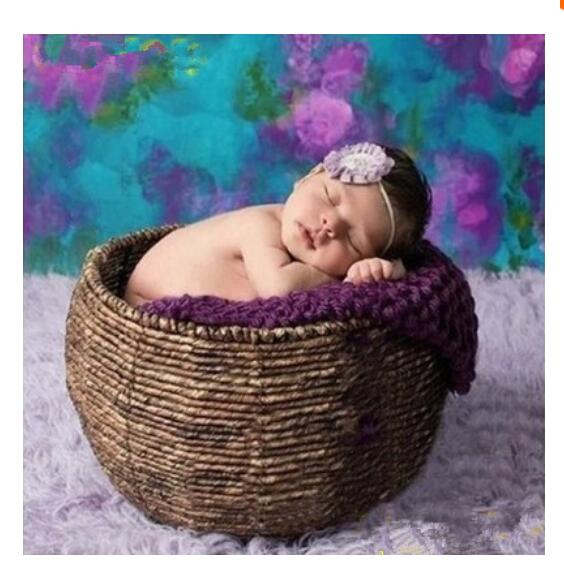 Newborn  photography props hand-woven baby basket studio Natural round #001