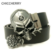 New Men's Jeans Brand Designers Black PU Leahter Belts Classic Gothic Cool Rose Skull Belt Buckle Metal For Men Punk Clothing
