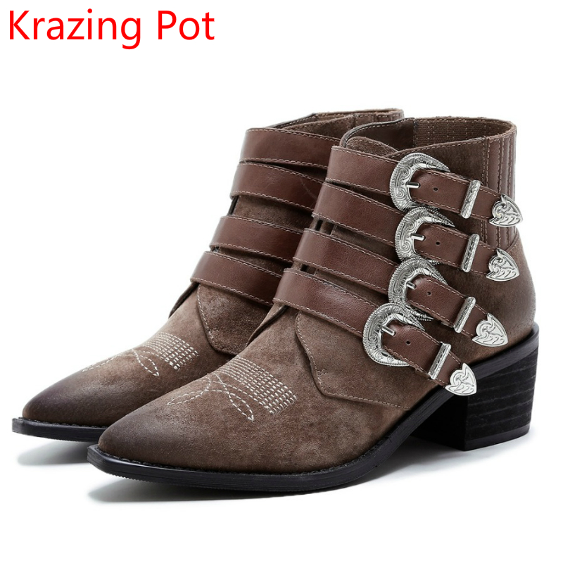2018 Genuine Leather Winter Shoes Woman Med Heel Mixed Colors Metal Buckle Pointed Toe Ankle Boots Retro Cozy Chelsea Boots L80