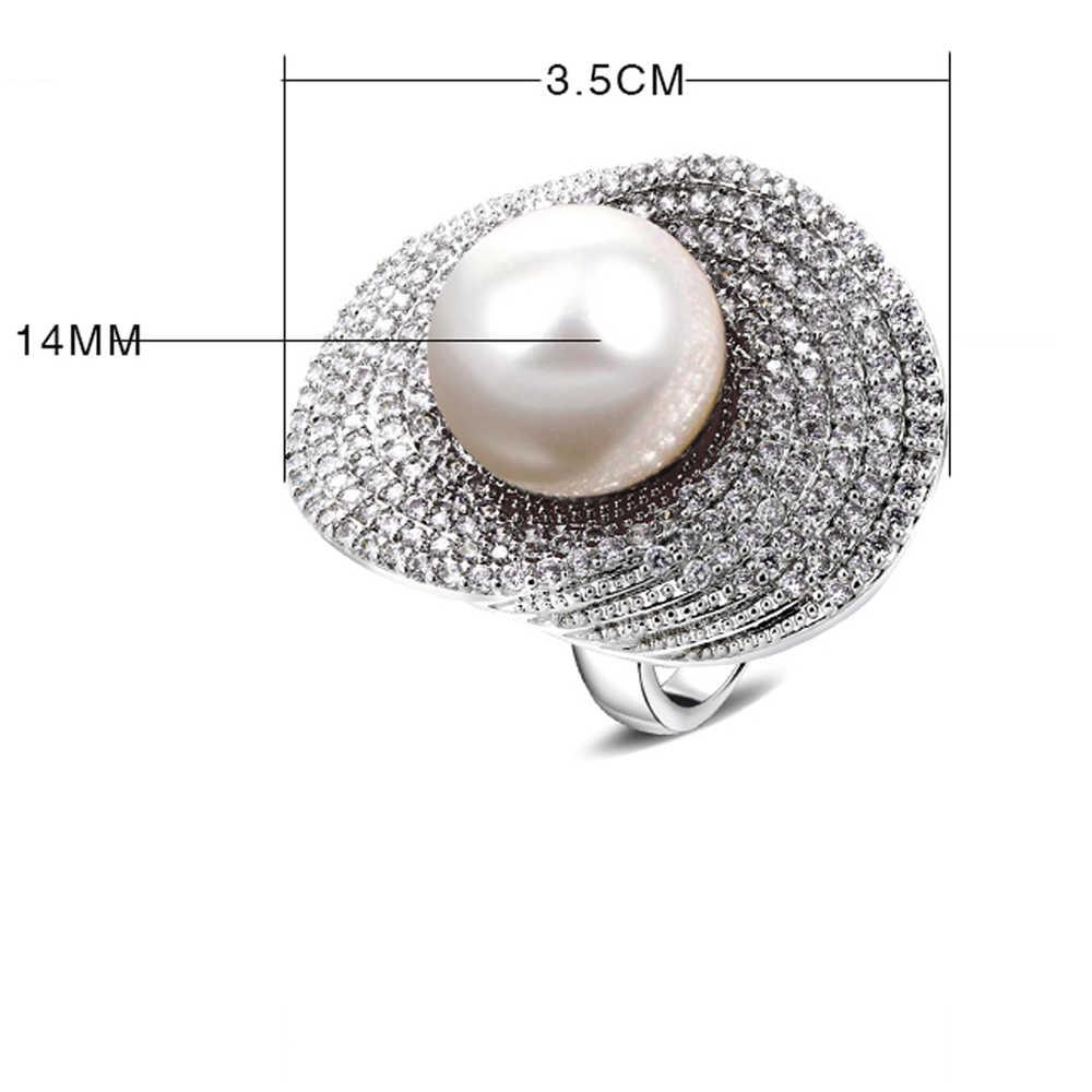 บิ๊กแหวนสำหรับผู้หญิงโรเดียมw/ประดับเพชรและมุกเลียนแบบแหวนทองแดงใหม่ออกแบบเครื่องประดับแฟชั่นฟรีการจัดส่งสินค้า