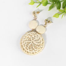 Bohemia Handmade Wooden Rattan Knit Hanging Earrings For Women Fashion Boho Round Disc Long Drop Earrings Jewelry Accessories