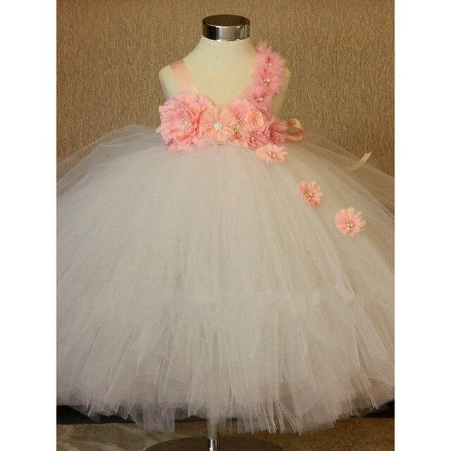 f6c47e7fb Flor magnífica Niñas vestido blanco flor Rosa bebé Niñas tutú Vestidos  bautismo bebé blanco Vestidos toddle