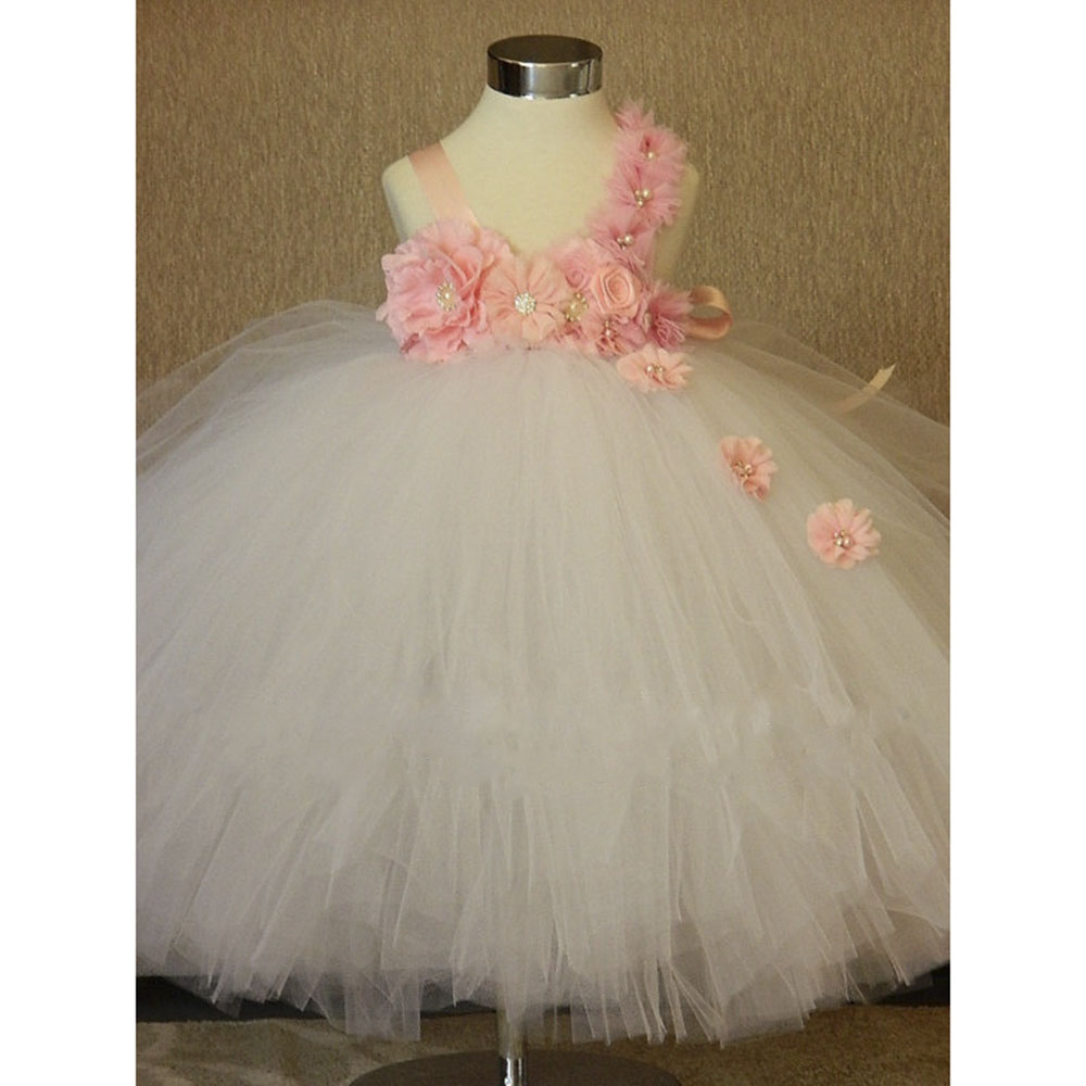 Gorgeous Flower Girls Dress White Pink Flower Baby Girls Tutu
