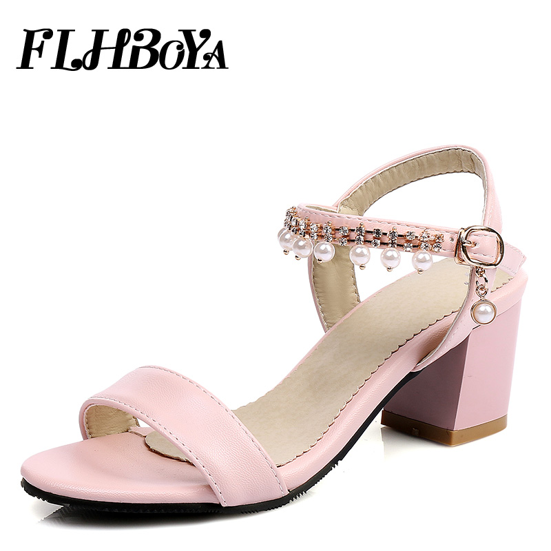 2018 Summer Buckle Strap Square heel Sandals Women Chunky Block Heels Shoe Woman Blue Open toe Ankle-wrap String bead Femme Pump summer rhinestone sequins women sandals fashion string bead chunky heels leisure open toe outwear black beige sandalia feminina