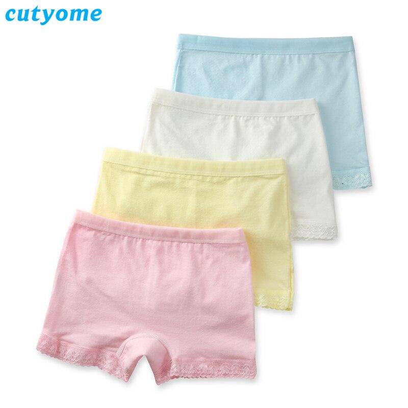 Cutyome 2-15 Yrs Baby Girls Solid Underwear 100% Cotton Lace Safety Boutique Underpanties * Children 2019 Hot Kids Briefs Shorts