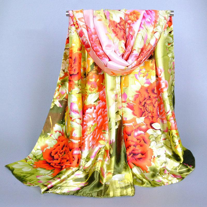 Spring Women Silk Scarves Elegant Big Peony Flowers Printed Scarf Ladies Scarf Shawl 165X50CM
